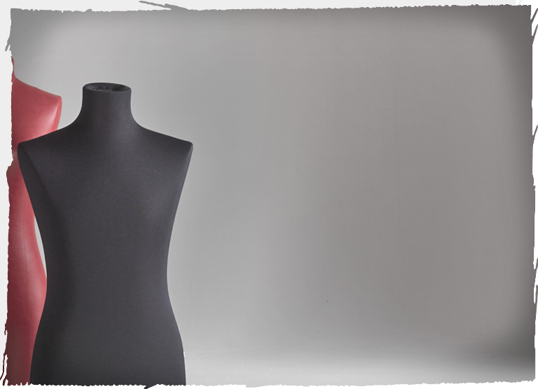 A Tailor's N.Y. bust form covered with black fabric