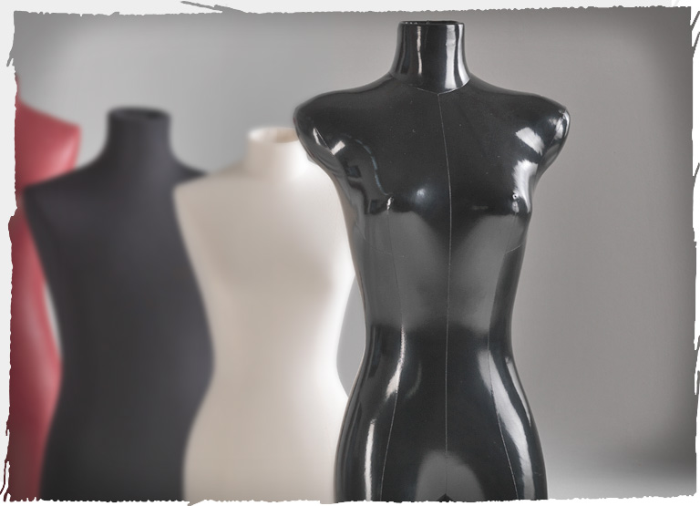 Three Tailor's NY bust forms covered with different fabrics – also with faux leather
